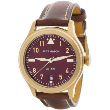 Jack Mason Aviator Watch with Leather Band - 36mm in Navy/Brown - Closeouts