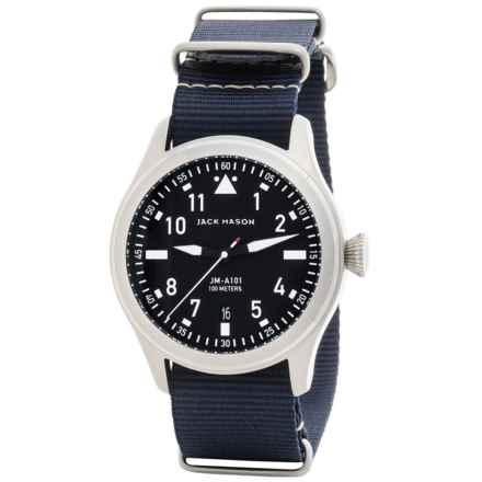 Jack Mason Aviator Watch with Nylon Band - 42mm in Black/Navy - Closeouts
