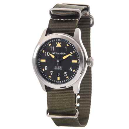 Jack Mason Aviator Watch with Nylon Band - 42mm in Black/Olive - Closeouts