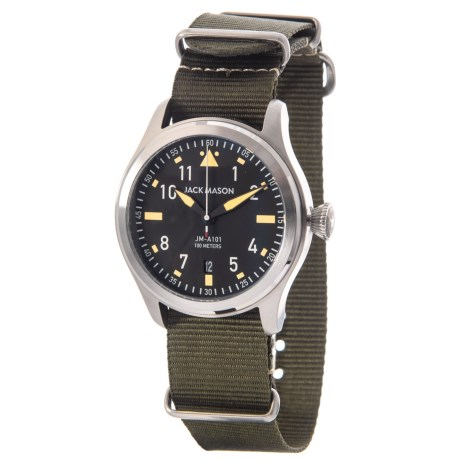 Jack Mason Aviator Watch with Nylon Band - 42mm in Black/Olive