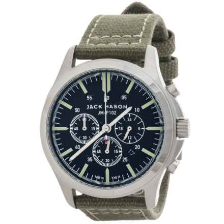 Jack Mason Field Chronograph Watch with Canvas Band - 42mm in Black/Green - Closeouts