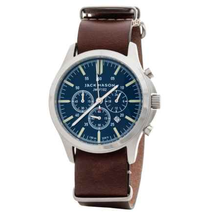 Jack Mason Field Chronograph Watch with Leather Band - 42mm in Navy/Brown - Closeouts