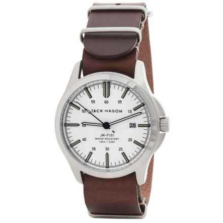 Jack Mason Field Watch with Leather Band - 42mm in White/Brown - Closeouts
