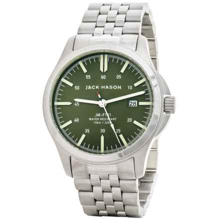 Jack Mason Field Watch with Stainless Steel Band - 42mm in Olive/Silver - Closeouts