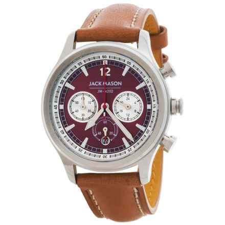 Jack Mason Nautical Chronograph Watch with Leather Band - 36mm (For Women) in White/Saddle - Closeouts
