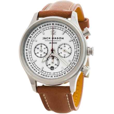 Jack Mason Nautical Chronograph Watch with Leather Band - 36mm in White/Brown - Closeouts