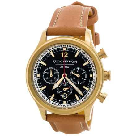 Jack Mason Nautical Chronograph Watch with Leather Band - 36mm, Two-Tone Stainless Steel in Black/Camel - Closeouts