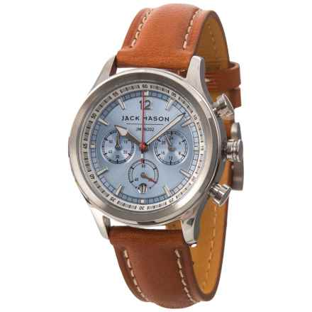 Jack Mason Nautical Chronograph Watch with Leather Band - 36mm, Two-Tone Stainless Steel in Light Blue/Tan - Closeouts