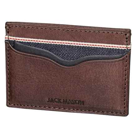 Jack Mason Slim Card Case - Leather, RFID (For Men) in Denim - Closeouts