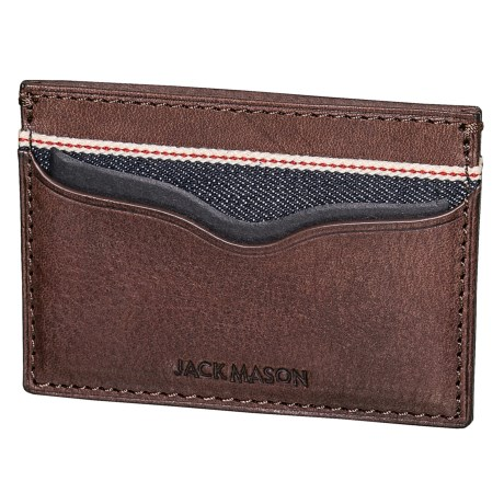 Jack Mason Slim Card Case - Leather, RFID (For Men) in Denim