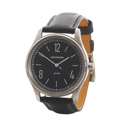 Jack Mason Slim Two-Hand Watch - Leather Strap in Black/Stainless Steel - Closeouts