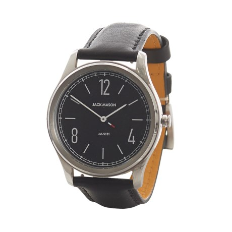 Jack Mason Slim Two-Hand Watch - Leather Strap in Black/Stainless Steel