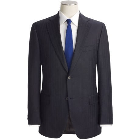 Jack Victor Beaded Shadow Stripe Suit - Loro Piana Wool (For Men) in Navy