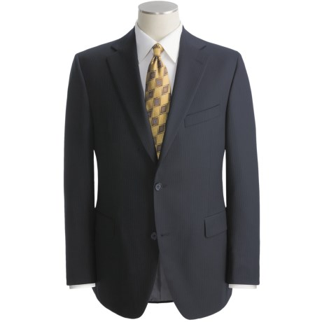 Jack Victor Beaded Tonal Stripe Suit - Wool (For Men) in Navy