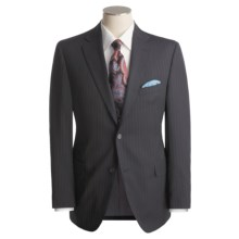 Jack Victor Beaded Tonal Stripe Suit - Worsted Wool (For Men) in Navy/Chalk - Closeouts