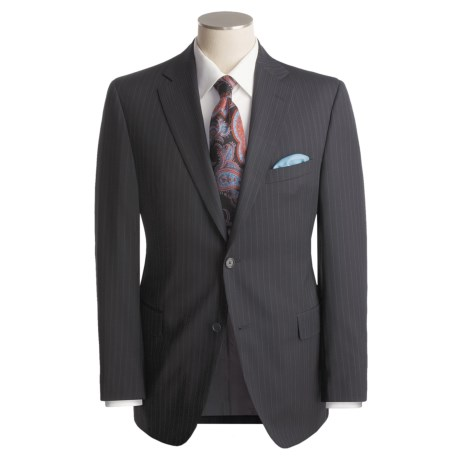 Jack Victor Beaded Tonal Stripe Suit - Worsted Wool (For Men) in Navy/Chalk
