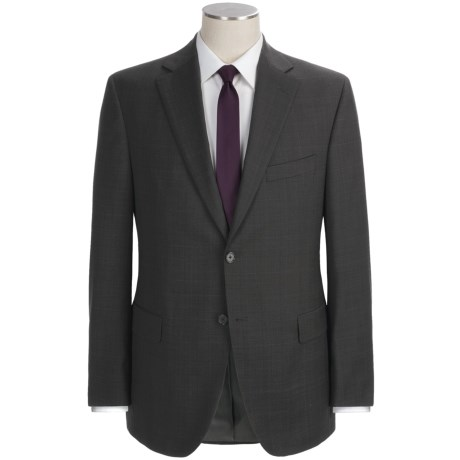 Jack Victor Plaid with Windowpane Suit - Wool (For Men) in Charcoal