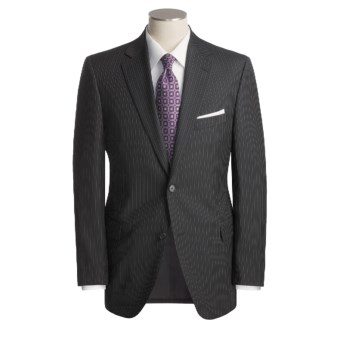 Jack Victor Track Stripe Suit - Worsted Wool (For Men) in Black/Grey