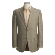 Jack Victor Worsted Cashmere Windowpane Sport Coat - Fabric by Loro Piana (For Men) in Olive - Closeouts