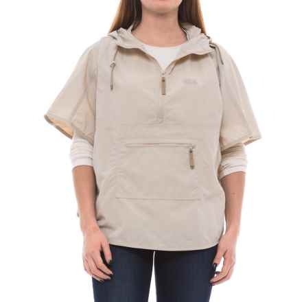 Jack Wolfskin Atacama Hooded Poncho - UPF 40+ (For Women) in Light Sand - Closeouts