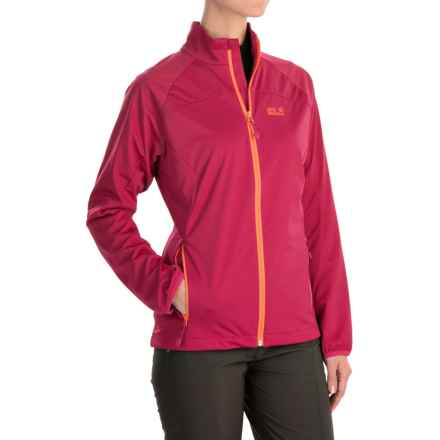 Jack Wolfskin Crosswind Soft Shell Jacket (For Women) in Azalea Red - Closeouts