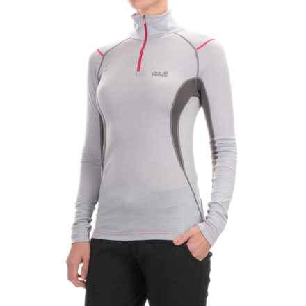Jack Wolfskin Merino Wool Base Layer Top - Zip Neck, Long Sleeve (For Women) in Silver Grey - Closeouts