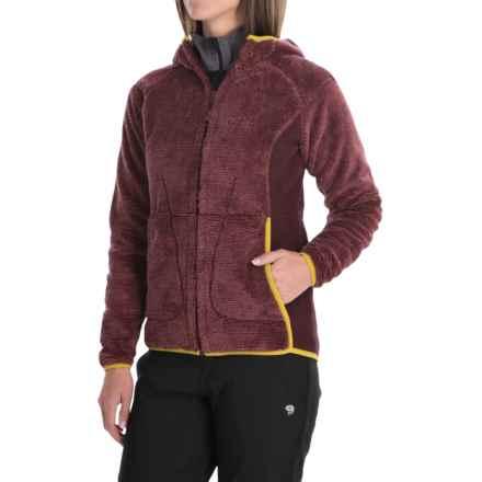 Jack Wolfskin Pine Cone Hooded Jacket - Fleece (For Women) in Dark Berry Stripes - Closeouts