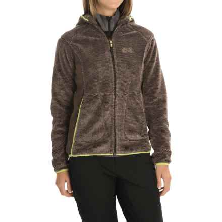 Jack Wolfskin Pine Cone Hooded Jacket - Fleece (For Women) in Mocca Stripes - Closeouts