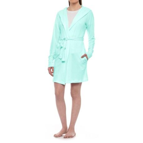 Jaclyn Intimates Hooded Whisper Robe - Long Sleeve (For Women) in Plume