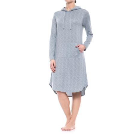 Jaclyn Intimates Jaclyn Hooded Nightshirt - Long Sleeve (For Women) in Tradewinds Space Dye