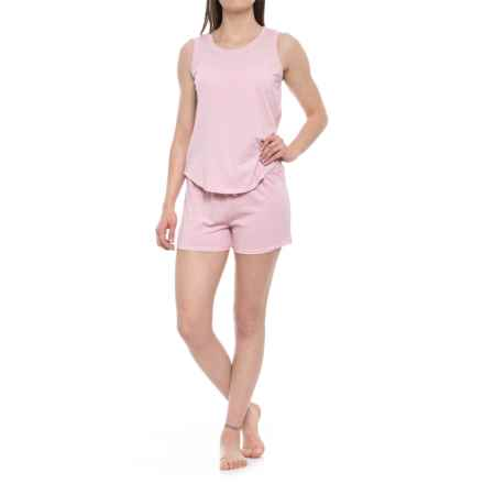 Jaclyn Intimates Vintage High-Low Tank Top Shorty Set (For Women) in Cameo Pink - Closeouts