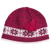 Jacob Ash Attagirl Wool Beanie Hat - Fleece Lining (For Women) in Bright Berry Combo - Closeouts
