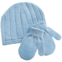 Jacob Ash Attakid Cable Stitch Hat and Mitten Set (For Infants) in Saltwater Blue - Closeouts