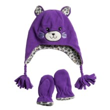 Jacob Ash Attakid Feline Hat and Mittens Set - Fleece (For Toddler Girls) in Purple/Cheetah - Closeouts