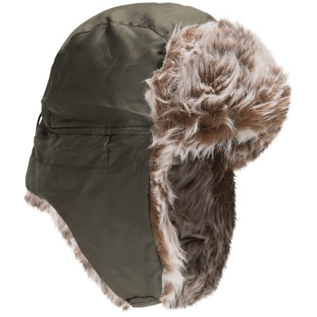 Jacob Ash Attakid Quilted Aviator Hat - Faux Fur (For Kids) in Olive Branch