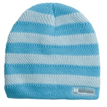 Jacob Ash Attakid Stripe Ribbed Beanie Hat (For Toddler Girls) in Glacier Blue Combo - Closeouts