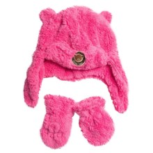 Jacob Ash Attakid Teddy Bear Fur Hat and Mittens Set (For Infants) in Pink Vibe - Closeouts