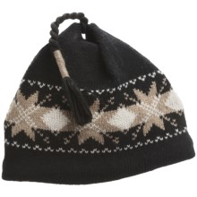Jacob Ash EcoRaggs® Diamond Snowflake Beanie Hat - Wool, Recycled Materials (For Men and Women) in Anthracite - Closeouts
