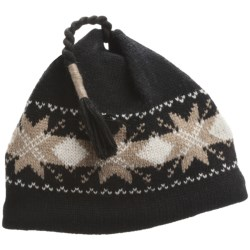 Jacob Ash EcoRaggs® Diamond Snowflake Beanie Hat - Wool, Recycled Materials (For Men and Women) in Grey