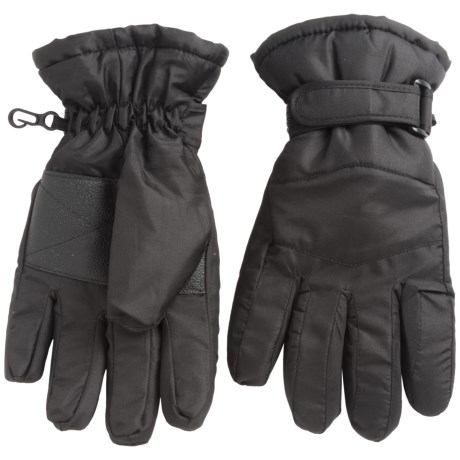Jacob Ash Igloos Taslon Ski Gloves - Waterproof, Insulated (For Little and Big Kids) in Black