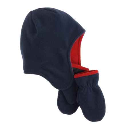 Jacob Ash Puffin Down Contrast Fleece Cap and Mittens Set (For Infants) in Peacoat/F-1  Red - Closeouts