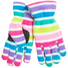 Jacob Ash Puffin Down Fleece Gloves - Waterproof, Insulated (For Boys and Girls) in Stripe Pattern - Closeouts