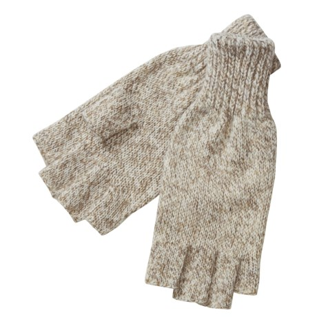 Jacob Ash Ragg Wool Fingerless Gloves (For Men) in Oatmeal
