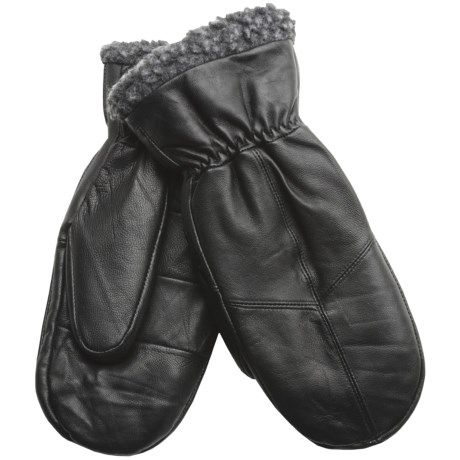 Jacob Ash Sheepskin Mittens (For Women) in Black W/Charcoal