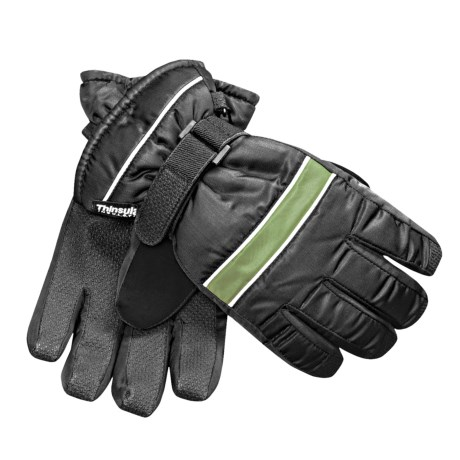 Jacob Ash Waterproof Ski Gloves - Insulated (For Kids) in Black/Bright Green
