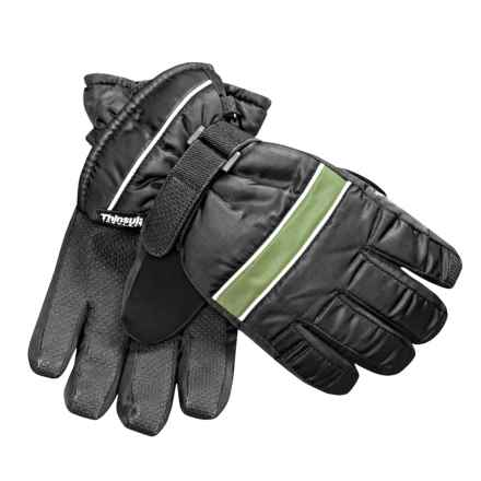 Jacob Ash Waterproof Ski Gloves - Insulated (For Little and Big Kids) in Black/Bright Green - Closeouts