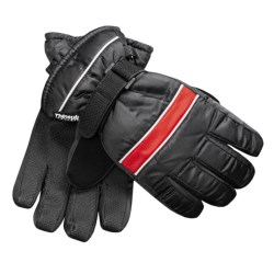 Jacob Ash Waterproof Ski Gloves - Insulated (For Little and Big Kids) in Black/Red