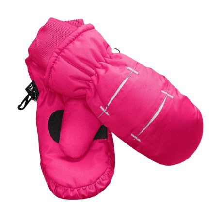 Jacob Ash Waterproof Ski Mittens - Insulated (For Little and Big Kids) in Pink / White