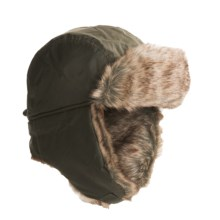 JacobAsh Attaboy Aviator Hat - Faux Fur, Ear Flaps (For Men) in Olive - Closeouts