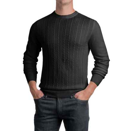 Jacquard Crew Neck Sweater - Long Sleeve (For Men) in Black - 2nds